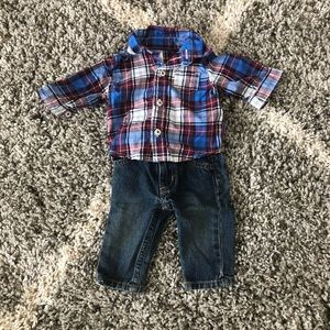 Carters Plaid Shirt and Jeans Outfit